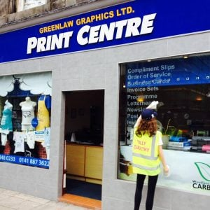 The Print Centre Storefront by Greenlaw Graphics Ltd, Paisley, Renfewshire